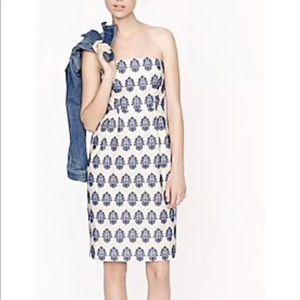 J Crew Filigree Embroidered Dress size 00 Blue